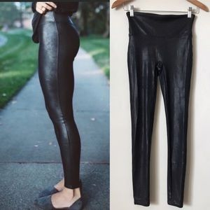 SPANX faux leather black textured shaping leggings